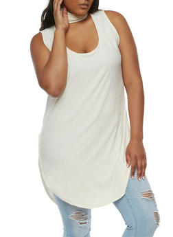 Plus Size Sleeveless Choker Tunic Top - CREAM - 0910001443657