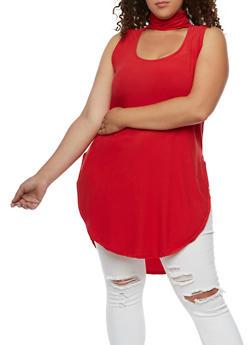 Plus Size Sleeveless Choker Tunic Top - 0910001443657