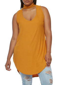 Plus Size Sleeveless Choker Tunic Top - 0910001443657
