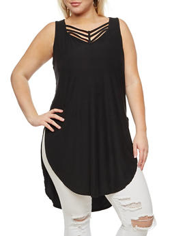 Plus Size Caged Neck Tunic with Side Slits - 0910001443661