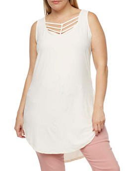 Plus Size Caged Neck Tunic with Side Slits - CREAM - 0910001443661