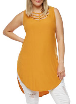 Plus Size Caged Neck Tunic with Side Slits - GOLD - 0910001443661