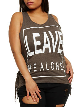 Plus Size Leave Me Alone Graphic Fringe Trim Top - 0910033870095