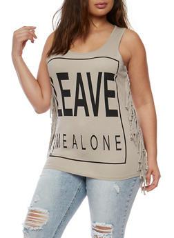 Plus Size Leave Me Alone Graphic Fringe Trim Top - 0910033870095