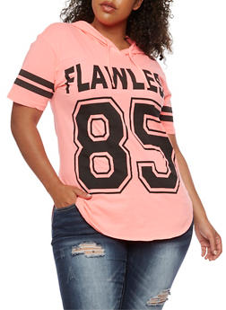 Plus Size Hooded Flawless 82 Graphic Top - 0910033870555