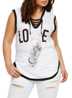 Plus Size Love Graphic Hooded Tank Top - 0910033870865
