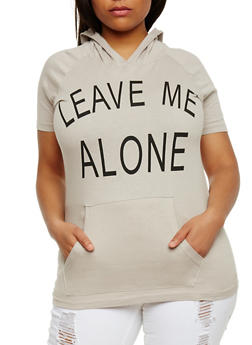 Plus Size Hooded Leave Me Alone Graphic Top - 0910033871055
