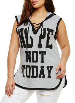 Plus Size Nope Not Today Graphic Lace Up Top - 0910033878135