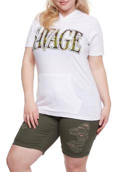 Plus Size Savage Camo Graphic Top - 0910033878327
