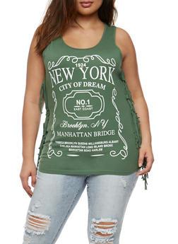 Plus Size New York Graphic Fringe Tank Top - 0910033879215