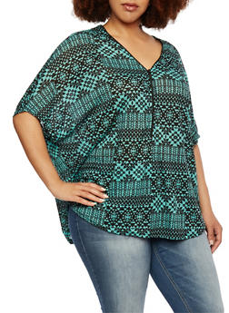 Plus Size Bat Wing Top with Zip Front - 0910038346039