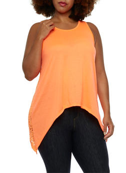 Asymmetrical Tank Top with Lace Back - 0910038346114