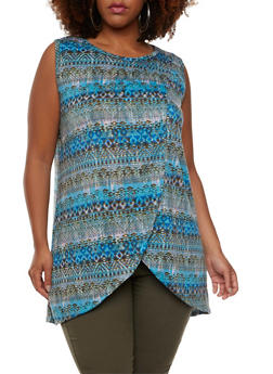 Plus Size Sleeveless Tulip Front Top with Aztec Print - 0910038346218