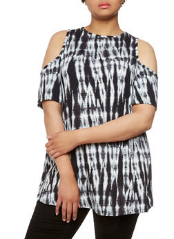 Plus Size Cold Shoulder Tunic Top with Tie Dye Design Throughout - 0910038346233