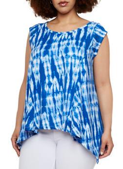 Plus Size Tie Dye Top with Handkerchief Hem - 0910038346358