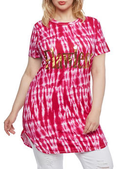 Plus Size Tie-Dye Tunic Top with Metallic Flawless Graphic - 0910038346362