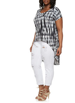 Plus Size Tie-Dye Print High-Low Top with Strappy Back - 0910038346364