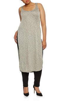 Plus Size Ribbed Maxi Top with Hood - 0910038346408