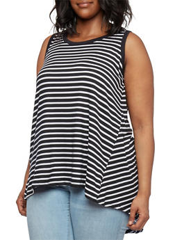 Plus Size Brushed Knit Striped High-Low Tank Top - 0910038346422