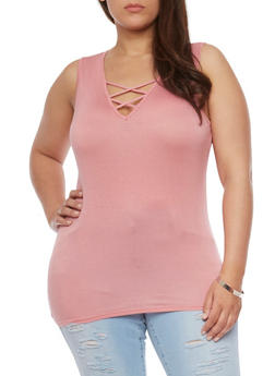 Plus Size Sleeveless Caged  V Neck Top - 0910054262522