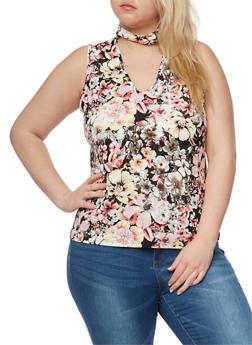 Plus Size Floral Sleeveless Choker Top - 0910054263468
