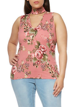 Plus Size Floral Sleeveless Choker Top - 0910054263468