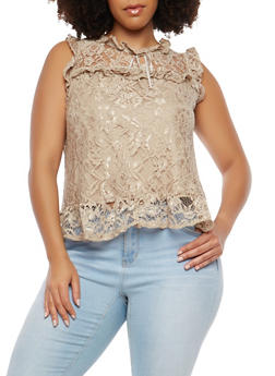 Plus Size Ruffled Lace Top - 0910054265854