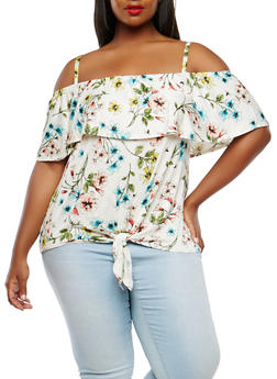 Plus Size Floral Off the Shoulder Top - 0910058753106