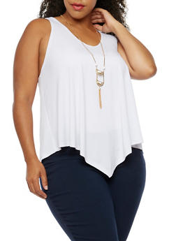 Plus Size Sleeveless Top with Necklace - WHITE - 0910058757773