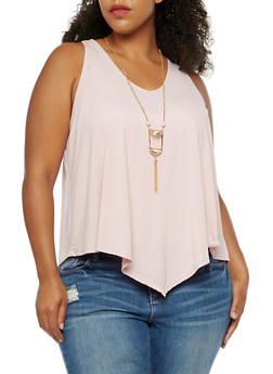 Plus Size Sleeveless Top with Necklace - 0910058757773