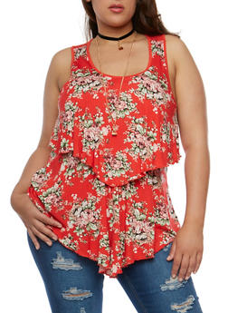 Plus Size Floral Tiered Tank Top with Necklace - 0910058758140