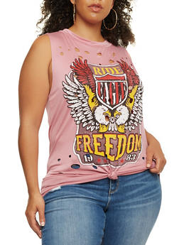 Plus Size Tie Front Lasercut Graphic Top - 0910058759116