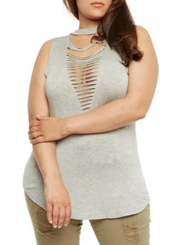Plus Size Sleeveless Lasercut Tunic Top - 0910058759119
