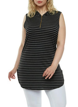 Plus Size Sleeveless Striped Top with Hood and Zipper Neckline - 0910058930017