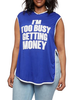 Plus Size Graphic Hooded Muscle Tee with Im Too Busy Getting Money Print - 0910058930101