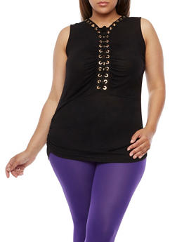 Plus Size Lace Up Top with Ruched Sides - BLACK - 0910058930704
