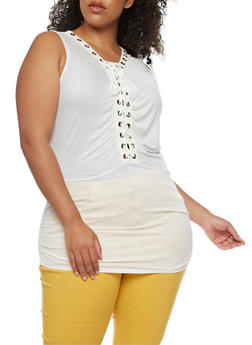 Plus Size Lace Up Top with Ruched Sides - WHITE - 0910058930704