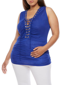 Plus Size Lace Up Top with Ruched Sides - ROYAL - 0910058930704