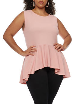 Plus Size Solid Peplum Top - 0910058931040