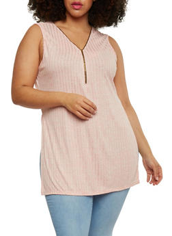 Plus Size Marled Rib Knit Zip Front Tank Top - 0910058934522