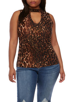 Plus Size Sleeveless Printed Top with Keyhole Detail - 0910058934636