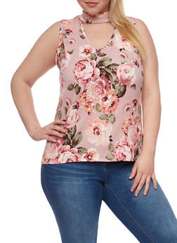 Plus Size Sleeveless Printed Top with Keyhole Detail - MAUVE FLORAL - 0910058934636