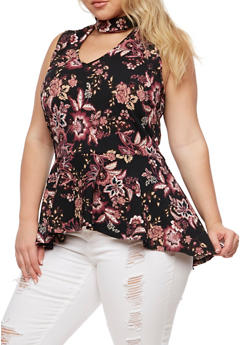 Plus Size Floral High Low Peplum Top - 0910058937052
