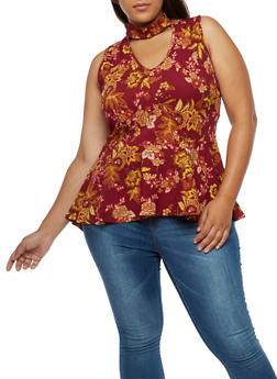 Plus Size Floral Sleeveless Peplum Top - 0910058937053