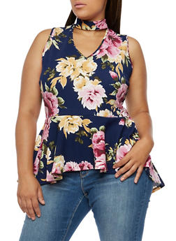 Plus Size Floral Sleeveless Peplum Top - 0910058937054