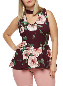 Plus Size Sleeveless Floral Peplum Top - 0910058937058