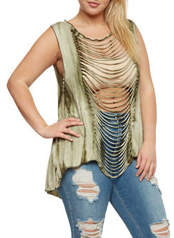 Plus Size Sleeveless Tie Dye Slashed Front Top - 0910058938114
