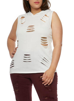 Plus Size Hooded Sleeveless Laser Cut Top - IVORY - 0910058939147