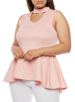 Plus Size Scuba Knit Choker Peplum Top with Keyhole - 0910058939149