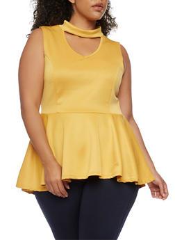 Plus Size Scuba Knit Choker Peplum Top with Keyhole - 0910058939149